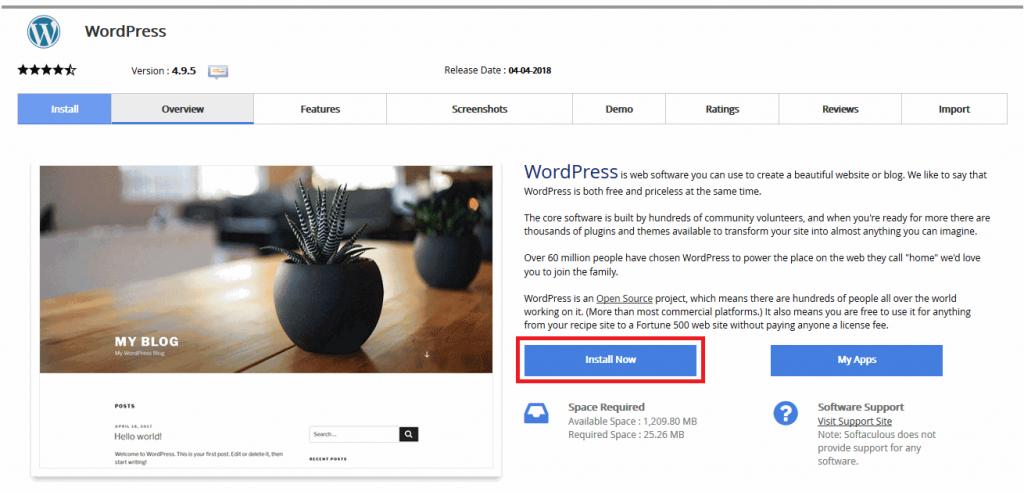 Cách cài đặt WordPress bằng Softaculous